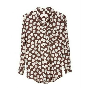 {equipment} Heart - printed Silk Blouse in Plum