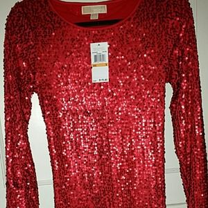 MICHAEL KORS RED SEQUIN DRESS