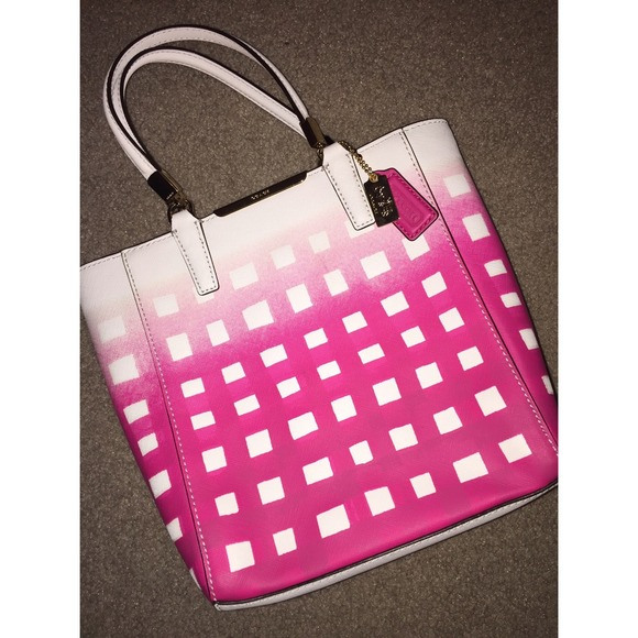 43% off Coach Handbags - Coach Purse Gingham Checkered Pink and ...