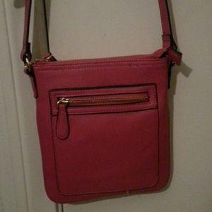 Pink and gold messenger bag