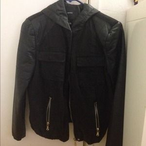 Forever 21 hooded leather jacket