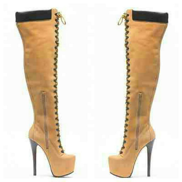 80daf2ada5c New Tan Thigh high hiking boots Boutique