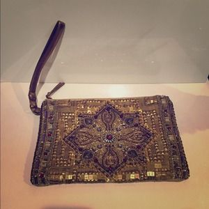 Clutches & Wallets - Gold Beaded Clutch!