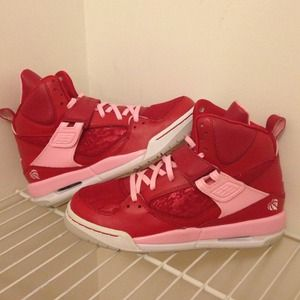 New Jordan Air Red Lace Glitter Pink (Girls Y5.5)