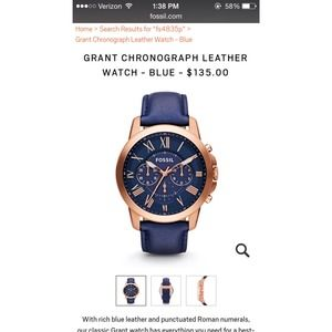 Fossil Mens Grant Chronograph Leather Watch