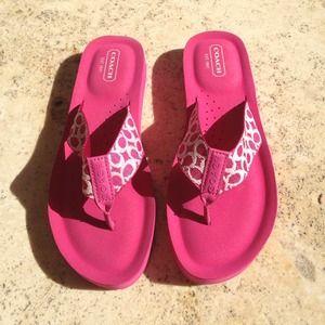 585d68e574cd6 Coach Shoes - New Coach Flip Flops Pink Thick Foam Size 6