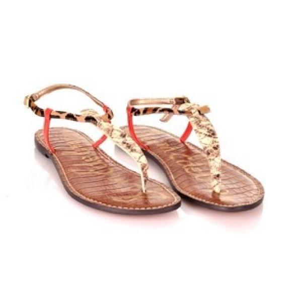 1a2e26369a0db1 Sam Edelman Gigi Coral Python Thong Sandals. M 54a83d3bf71a860545012c4a
