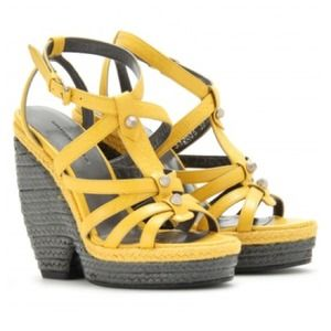Balenciaga Shoes - 🎉HP🎉Balenciaga Yellow Leather Wedge Heel Sandal