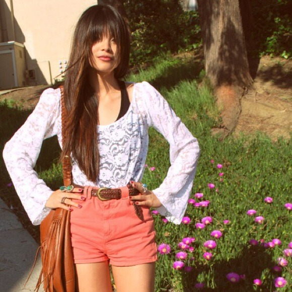 Pink American Apparel high waisted shorts