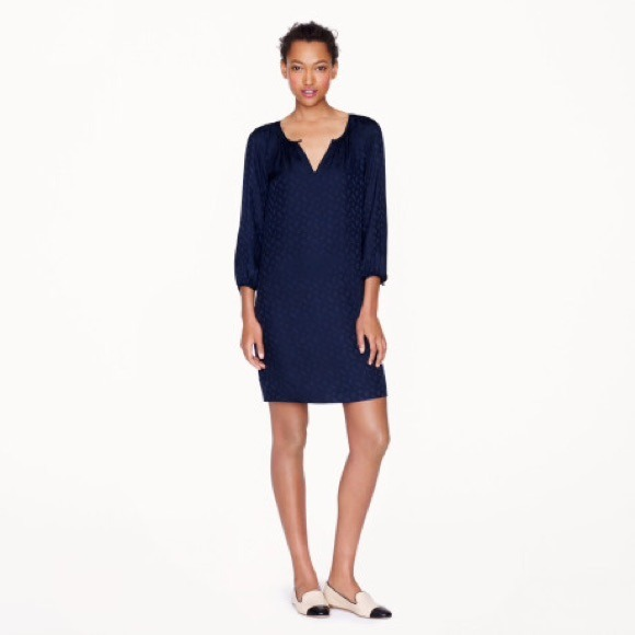 5345967f02eefd J. Crew Dresses   Skirts - J. Crew knee length navy silk shirt dress