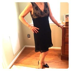 Formal black lace and beaded dress