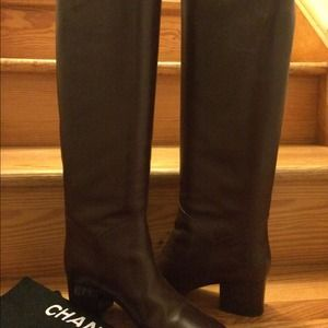 Chanel brown tall riding boots