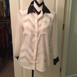 Mossimo Supply Co Tops - Black and white semi-sheer button -up blouse