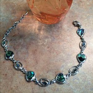 Abalone heart silver toned bracelet/anklet