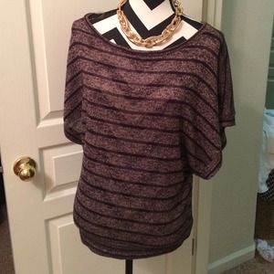 about a girl Tops - Black and brown knitted blouse