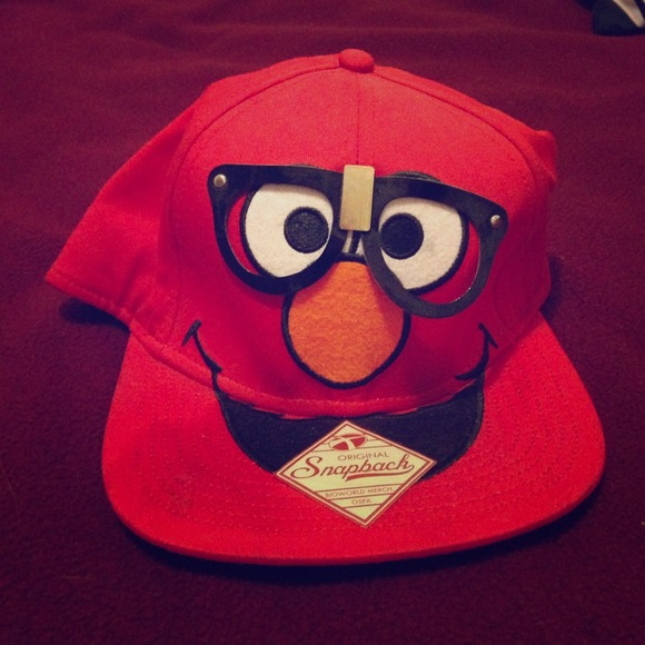 88887661222 Snapback Accessories - Rare Elmo with Nerd Glasses Hipster Snapback
