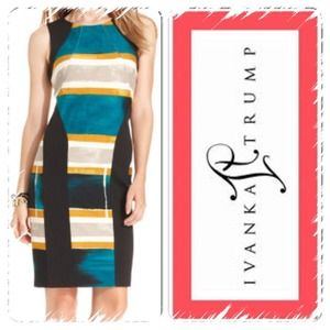  IVANKA TRUMP COLORFUL SHEATH DRESS ~ NWOT