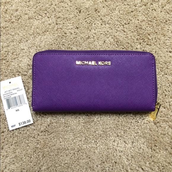 7c38237e574b5 Michael Kors Jet Set Continental Wallet in Violet