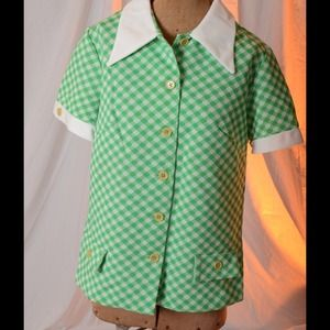 Vintage green checked top.