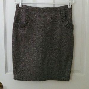 Anthropologie Black & White Tweed Pencil Skirt