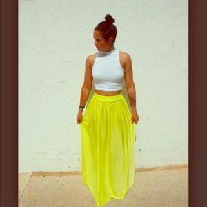 Mango yellow maxi skirt