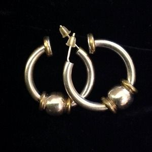 Vintage .925 Silver Bead Ball Hoop Earrings