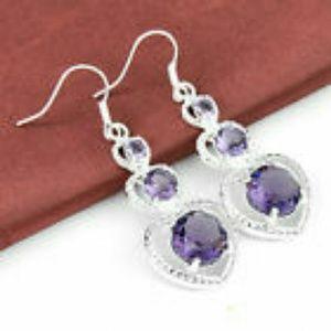 Jewelry - Amethyst Gemstone Silver Toned Earrings NWOT