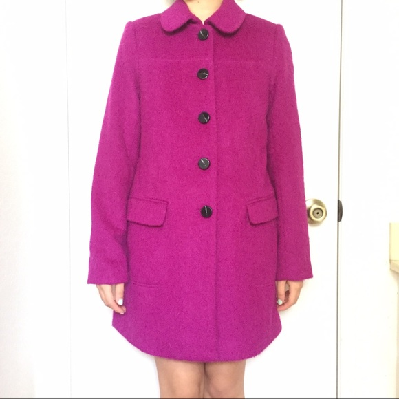 Jackets & Coats - Fuchsia Mohair Coat with Vent and Pockets