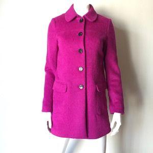 Jackets & Blazers - Fuchsia Mohair Coat with Vent and Pockets