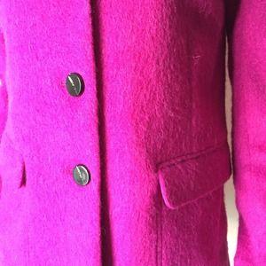 Jackets & Coats - Fuchsia Mohair Coat with Vent and Pockets