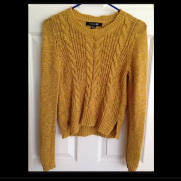 80% off Forever 21 Sweaters - Gold / mustard yellow medium cable ...