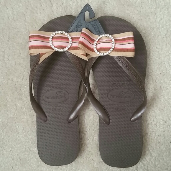 675b1d296 Havaianas Top Flip Flops - Brown with bow   bling