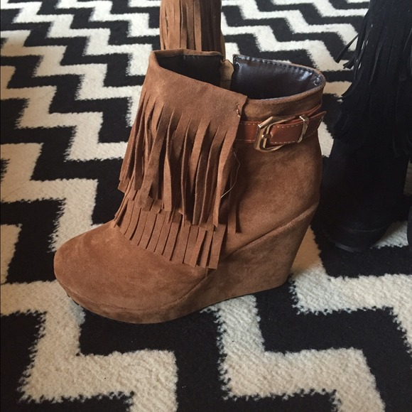 Shoes - Cognac Fringe bootie 8.5 never worn