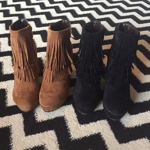 Shoes - Cognac Fringe bootie 8.5 never worn