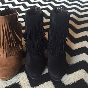 Shoes - Black Brand new never worn fringe bootie 8.5