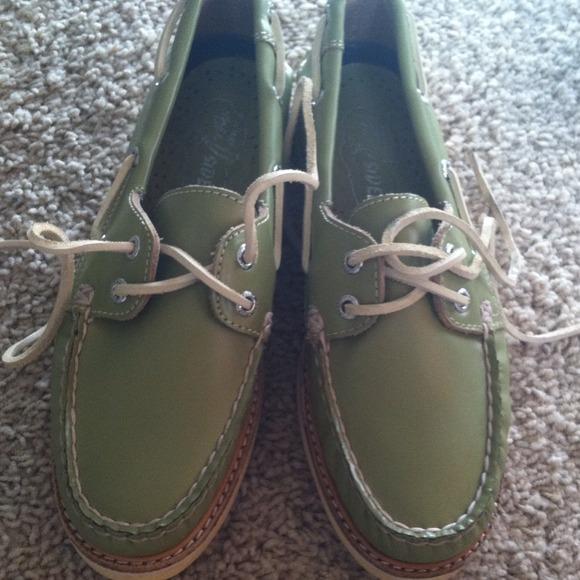 Olive Green Leather Sperrys   Poshmark
