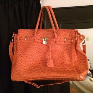 faux ostrich handbag