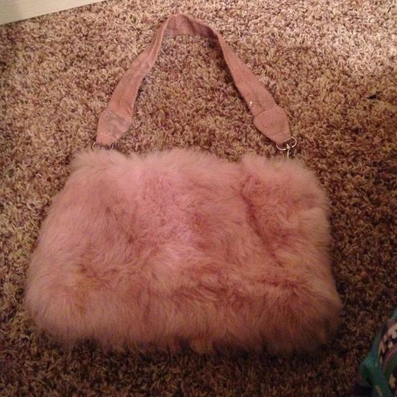 besso Handbags - Besso light pink rabbit fur purse f82286a4c09d3