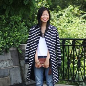 Boden Outerwear - Navy and White Striped Trench Coat