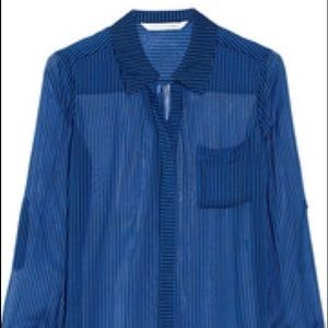 DVF BLUE AND BLACK SKINNY STRIPED BLOUSE NWT