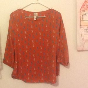 Mid century orange cat print top