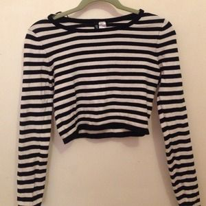 H&M stripped crop sweater