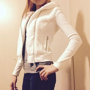 White AX Jacket with Fur Hood Double Zippers