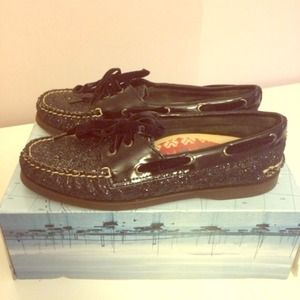 Sperry Top-Sider Shoes - Sperry Top Sider Black Glitter Shoes