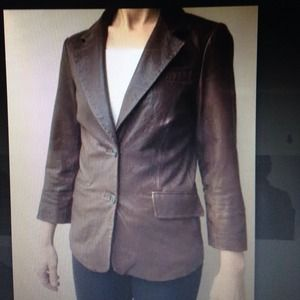 Elizabeth and James brown leather blazer