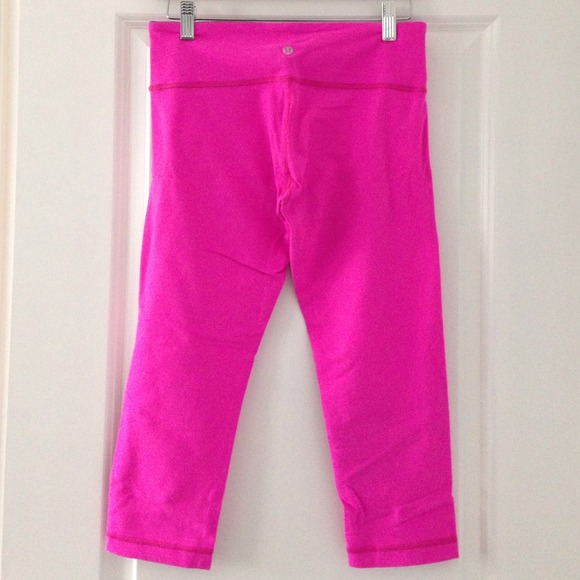 64% off lululemon athletica Pants - Lululemon hot pink Capri pants ...
