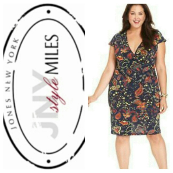 HP! Plus Size Jones New York Paisley Floral Dress NWT