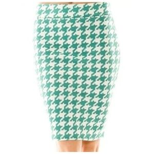 Mint Green Digital Houndstooth Pencil Skirt Large