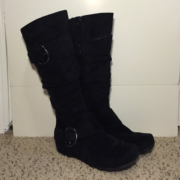 38% off Journee Collection Boots - Slouchy black suede like boots ...