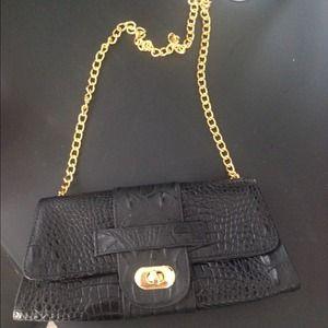 J.J Winters Gold Chain Black Leather Bag
